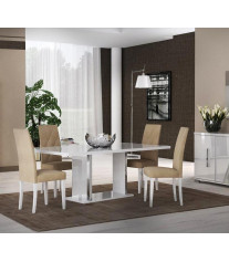 Glossy White Dining Room Set 5Pcs Made in Italy Contemporary Modern ESF Lisa