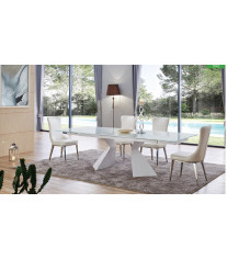White Dining Table Set 5Ps Textured Chair Made In Italy Modern ESF 992 DT-6138