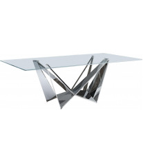 Dining Table Stainless Steel w/Glass Top Contemporary  Made In Italy ESF 2061DT