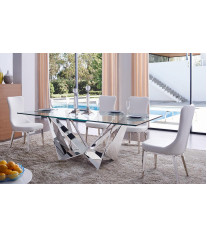 ESF 6138 Solid White Eco Leather Dining Chair Set 4 Modern Made In Italy