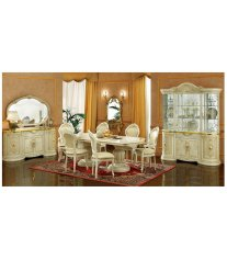 ESF Leonardo Glossy Ivory Classic Dining Room Set 7Pcs Luxury Made in Italy