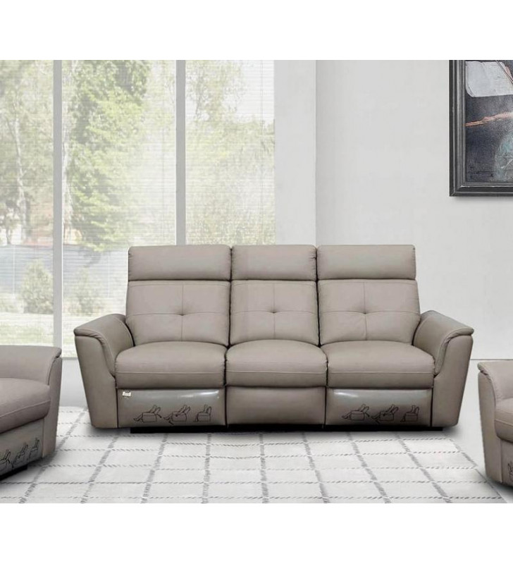 Light Grey Italian Leather Manual Recliner Sofa Contemporary ESF 8501