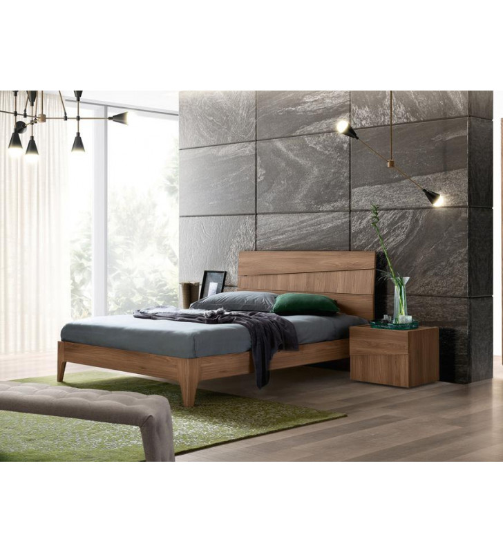 Ash Grey Walnut Matte King Bedroom Set 2Pcs Modern Made in Italy ESF Storm