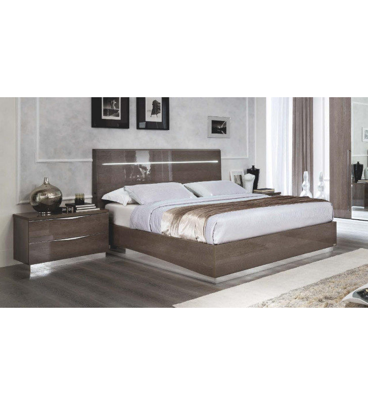 ESF Platinum Legno Birch King Bedroom Set 2Ps w/LED Contemporary Made in Italy