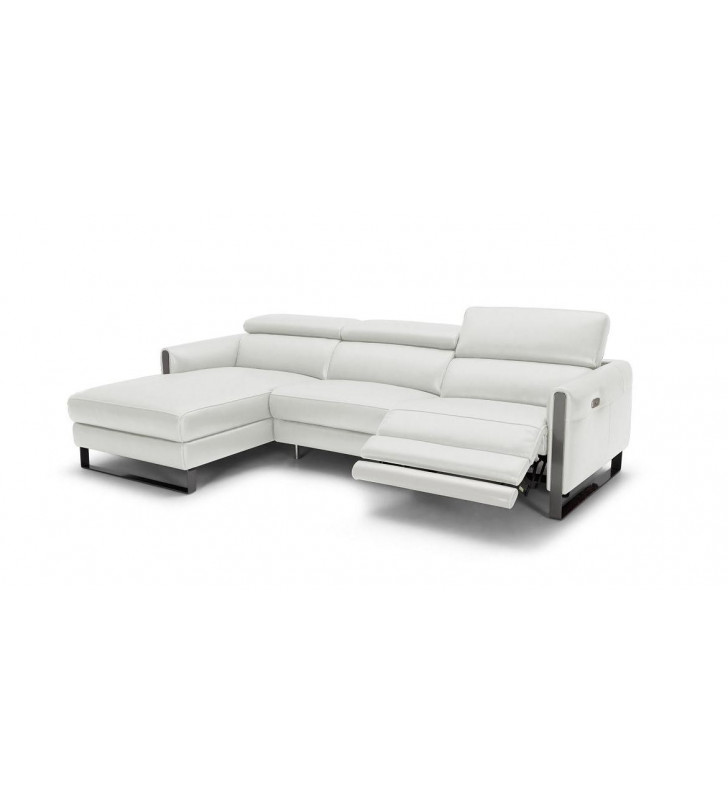 Matte Grey Italian Leather Premium Motion Sectional Sofa Recliner LHC J&M Vella