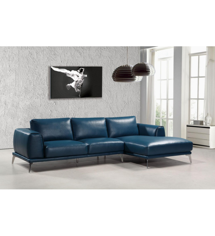 Modern Blue Bonded Leather Sectional Sofa Right Chaise VIG Divani Casa Drancy