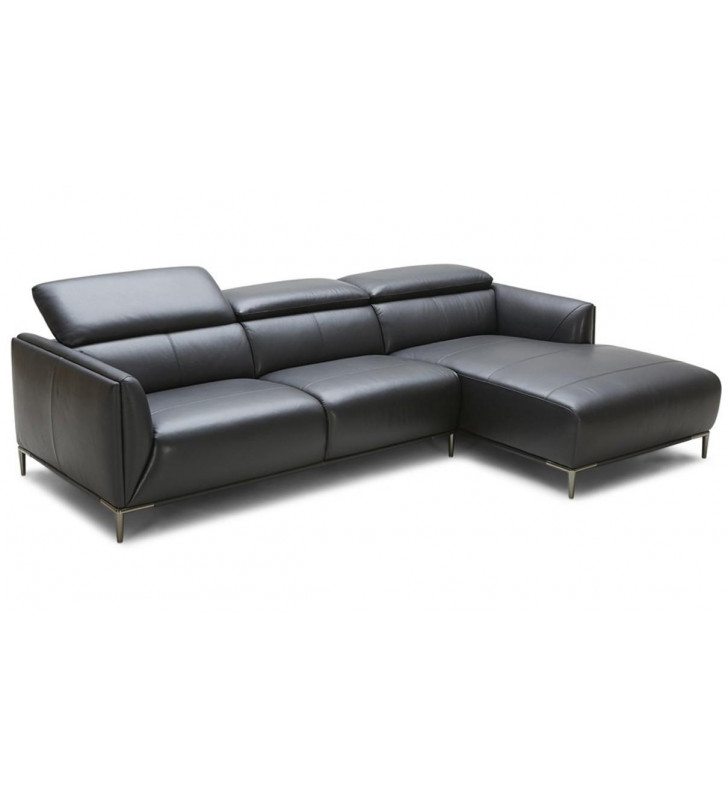Modern Black Full Leather Sectional Sofa Right Chaise VIG Divani Casa Belfast