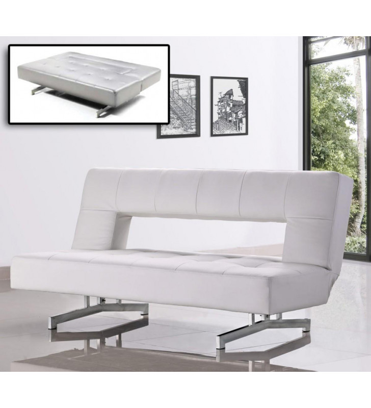 Fold-Out Leatherette Tufted Sofa Bed VIG Divani Casa Wilshire White Modern
