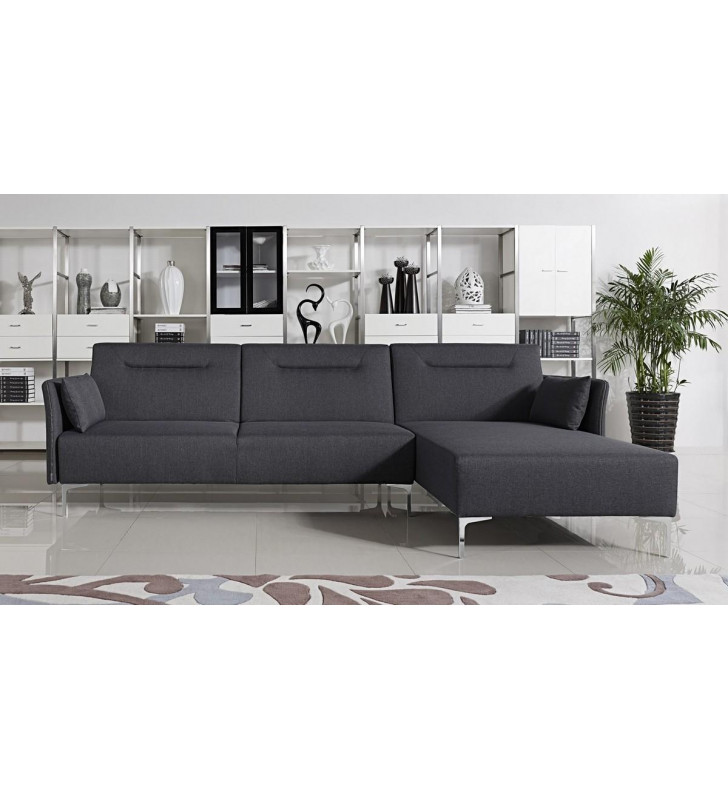 Grey Fabric Sectional Sofa Bed VIG Divani Casa Rixton Modern Right Facing Chaise