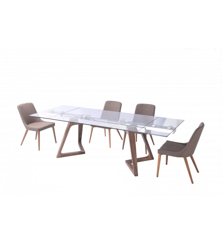 Oak Retro Dining Table w/ Extension 941 Chairs Set 5Pcs Made in Italy ESF 8811