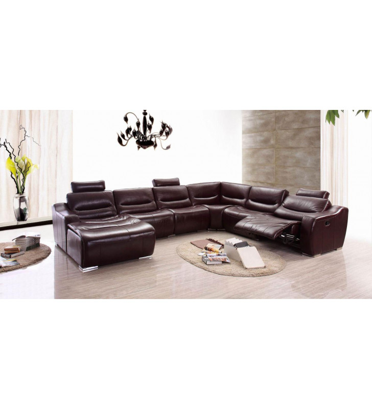 Dark Brown Genuine Italian Leather Sectional w/1 Recliner LHC Contemporary ESF 2144