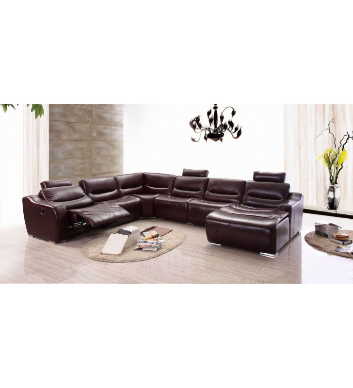 Dark Brown Genuine Italian Leather Sectional w/1 Recliner RHC Contemporary ESF 2144