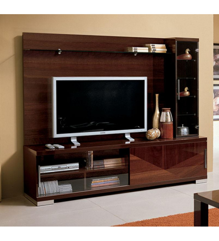 High Gloss Walnut Lacquer Entertainment Unit Made in Italy ESF Capri