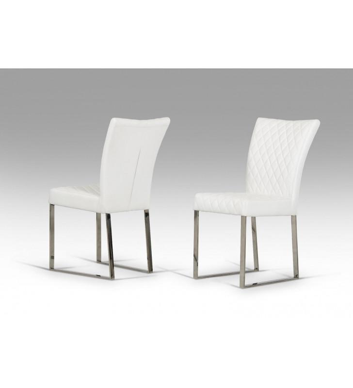 Dining Chair Set 2Pcs White Leatherette VIG Modrest Chrysler Modern