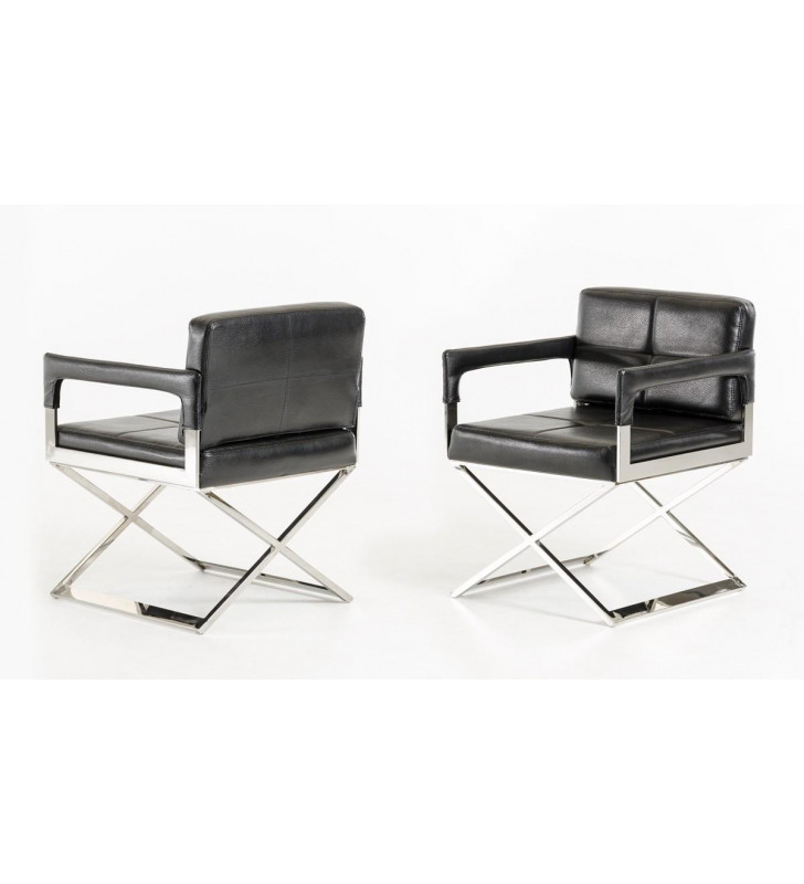 Accent Chair Set 2Pcs Black Bonded Leather VIG Modrest Kubrick Modern
