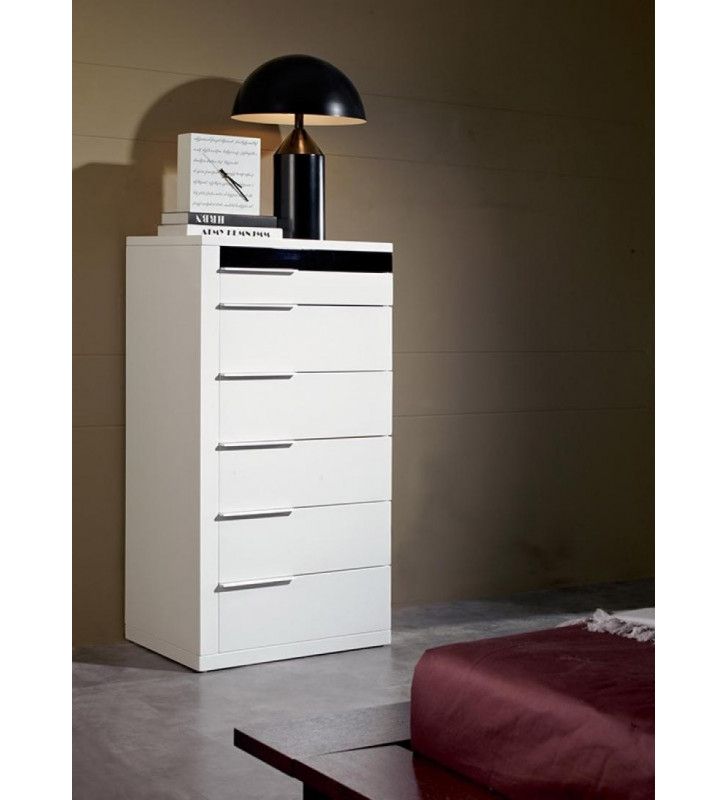 Bedroom Chest in Glossy White Made in Italy VIG Modrest Impera Modern