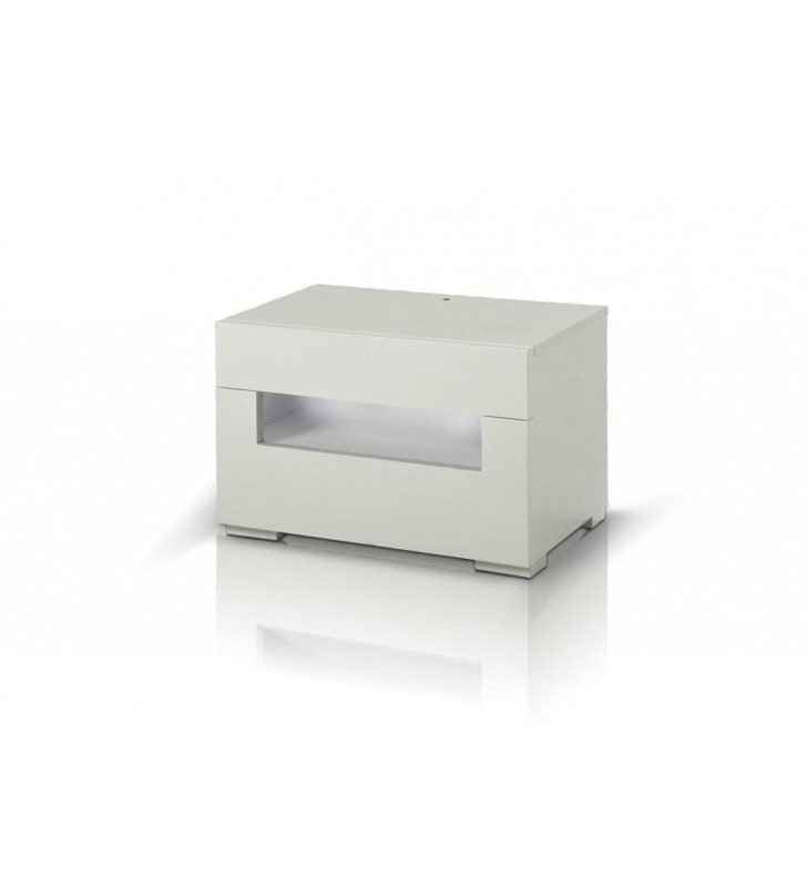 Nightstand w/LED Glossy White Lacquer Modrest Ceres Modern