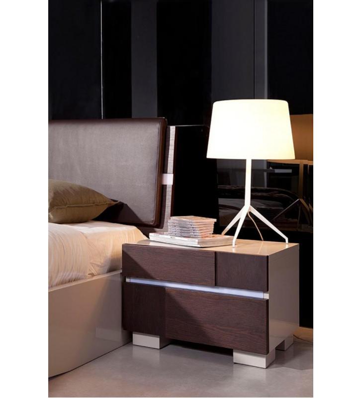 Brown Oak Wood Nightstand VIG Modrest Anzio Contemporary