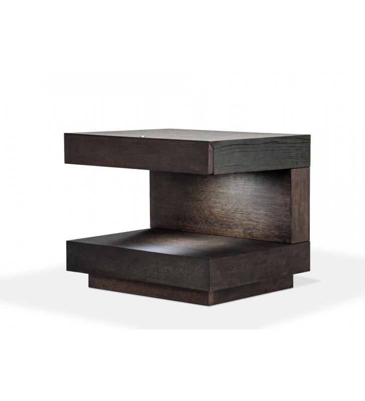 Brown Oak Nightstand w/Light VIG Modrest Esso Modern Contemporary