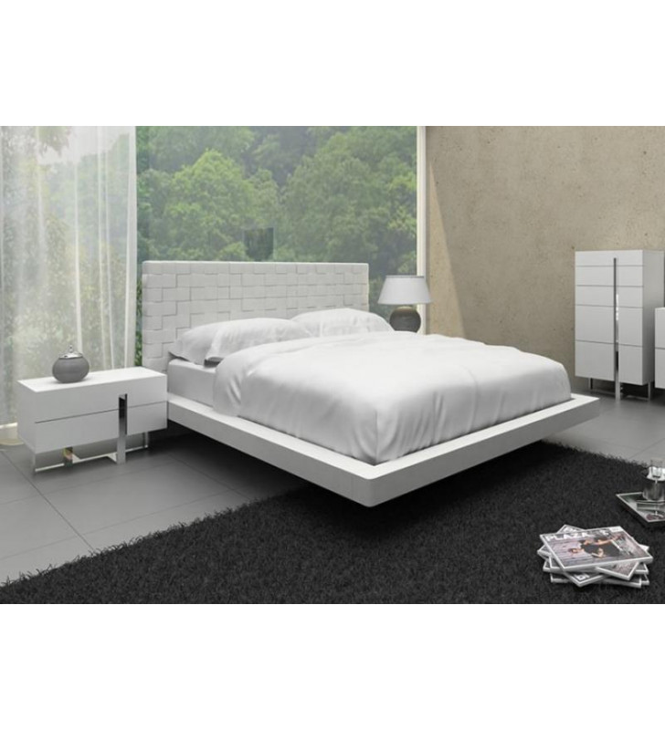 White Leather Pattern Headboard King Bed VIG Modrest Voco Contemporary
