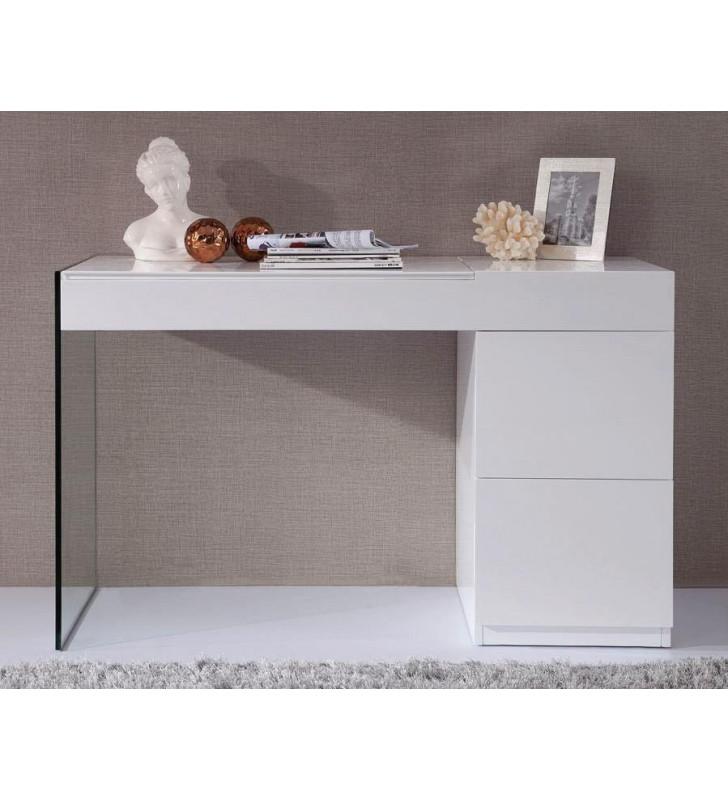 Home Office Secretary Desk Glossy White Floating Glass VIG Modrest Volare