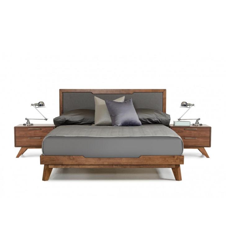 Grey & Walnut Fabric Finish Queen Platform Bed Modern VIG Nova Domus Soria
