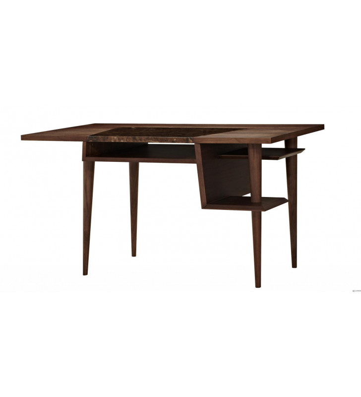 Home Office Writing Desk Brown Marble & Veneer Codex J&M Modern Contemporary