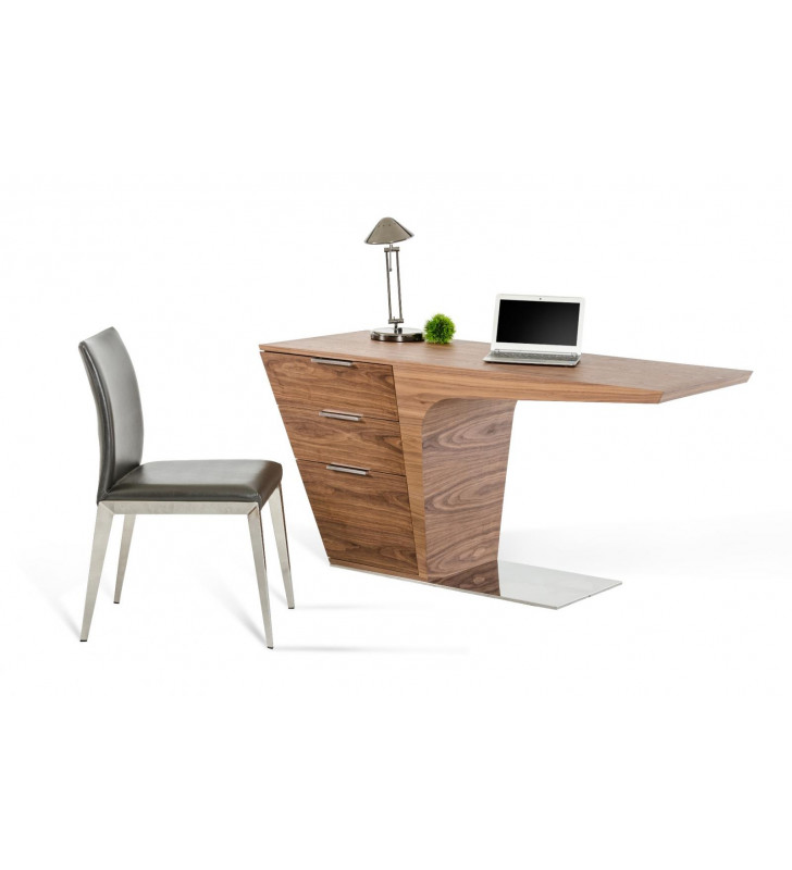 Home Office Computer Desk Bismarck Walnut VIG Modrest Contemporary