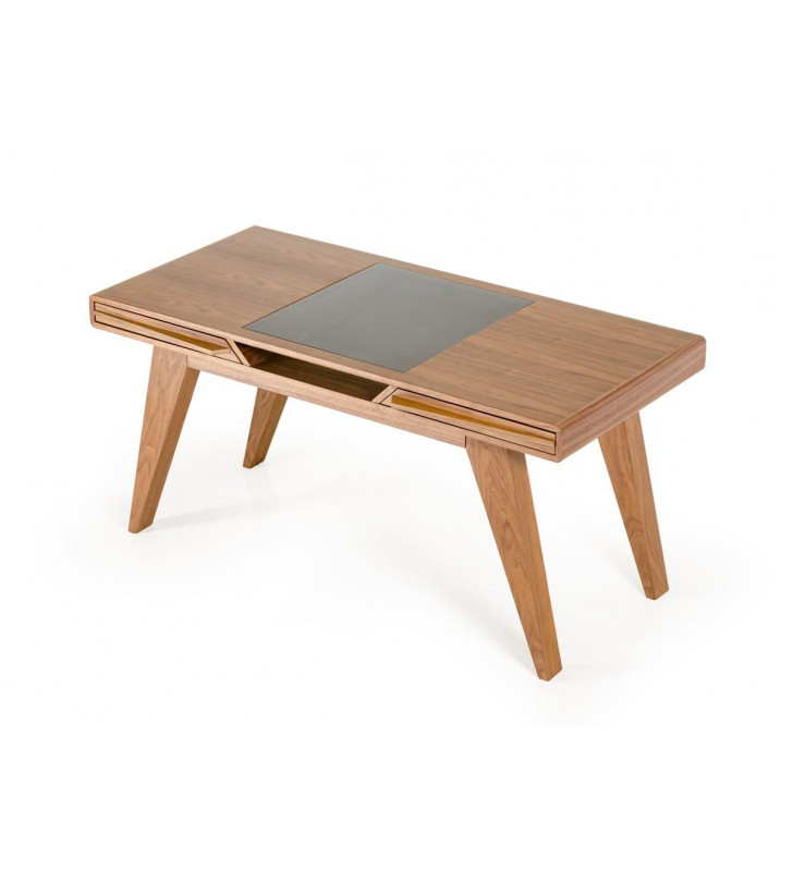 Home Office Writing Desk Walnut Veneer VIG Nova Domus Soria Contemporary