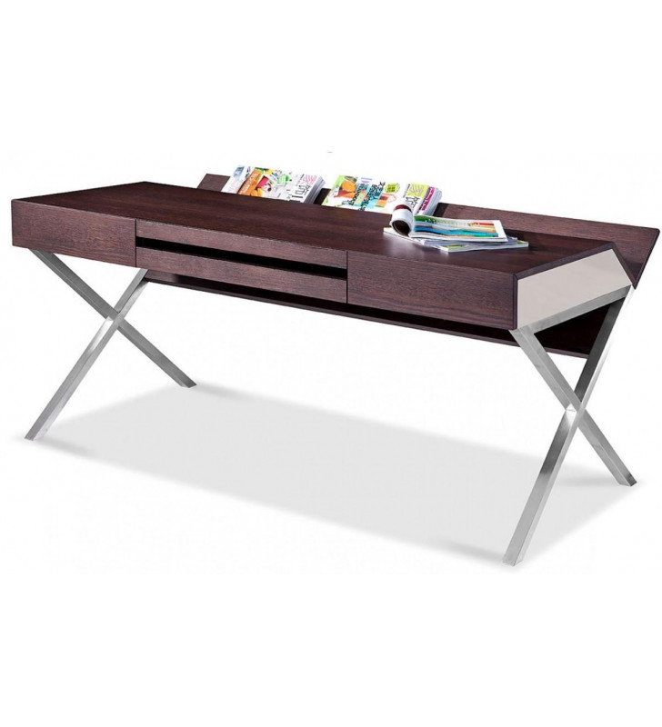 Home Office Computer Desk Brown Oak & Grey Orwell VIG Modrest Contemporary