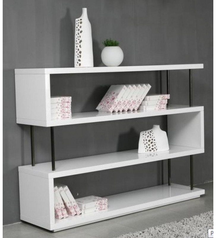 Glossy White Lacquer Wall Unit VIG Modrest Stage3 Contemporary Modern
