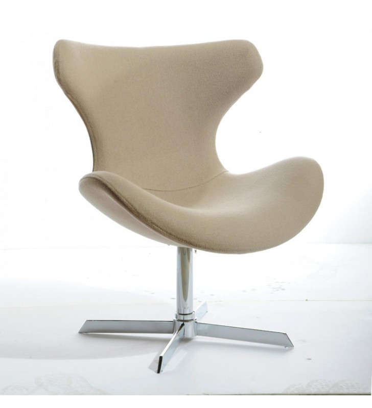 Beige Fabric Lounge Chair VIG Modrest Aludra Modern Contemporary