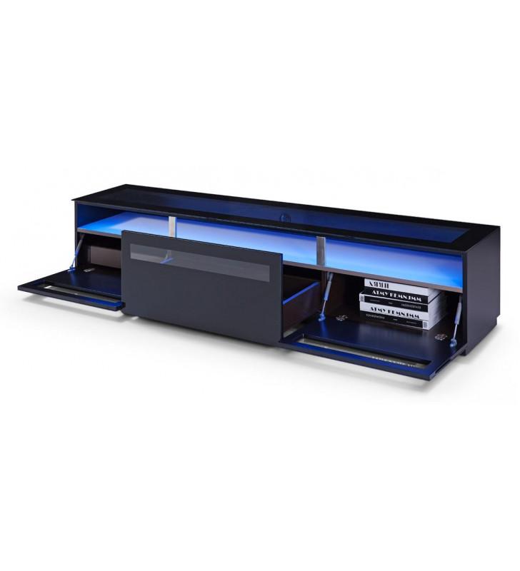 Black Tempered Glass TV Stand VIG Modrest Lowry Contemporary Modern