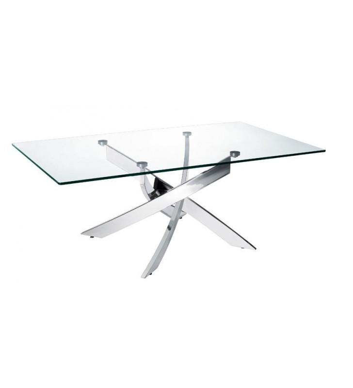 Glass Coffee Table Chrome Legs VIG Modrest Pyrite Modern Contemporary