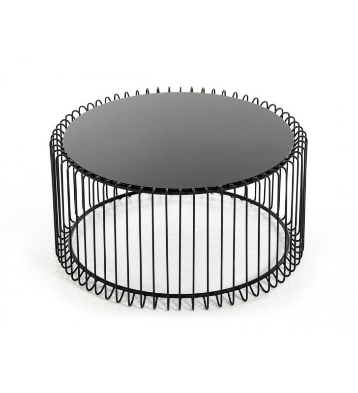 Black Round Coffee Table VIG Modrest Beacon Contemporary
