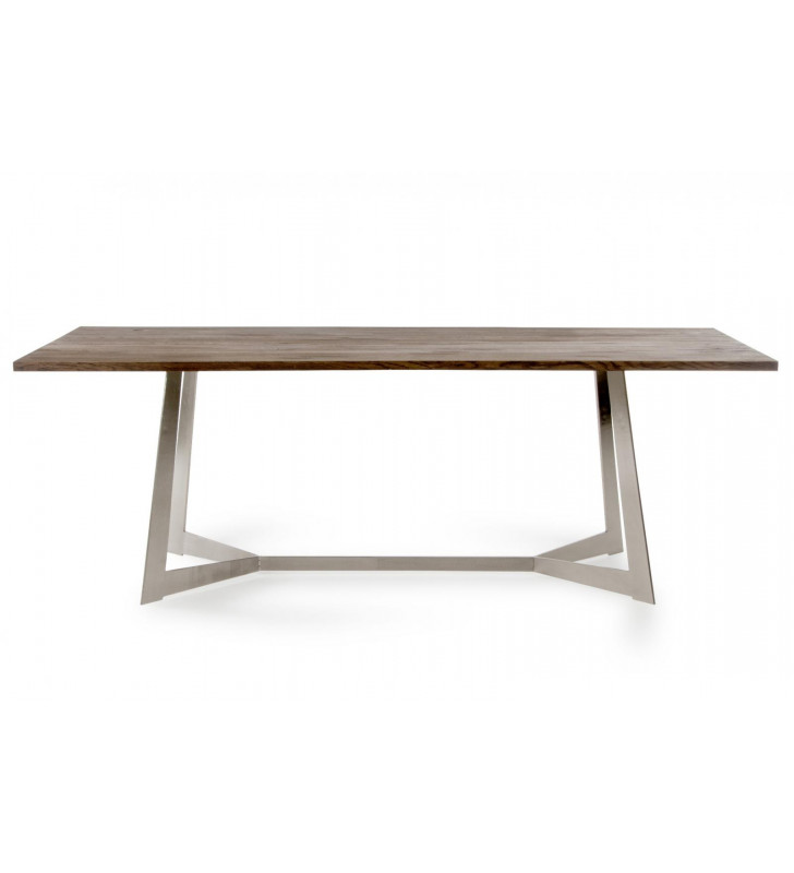 Dark Oil Stained Solid Aged Oak Dining Table VIG Modrest Wharton Modern