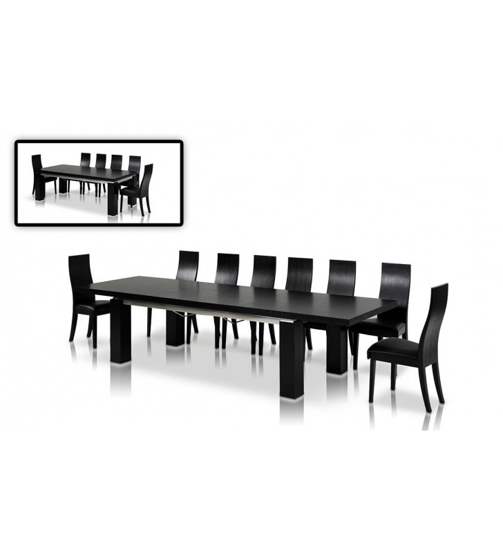 Black Oak Two-tier Extendable Dining Table VIG Modrest Maxi Modern Contemporary