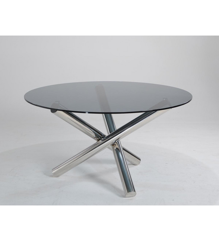 Round Dining Table Steel Base VIG Furniture Modrest Frau Modern Contemporary