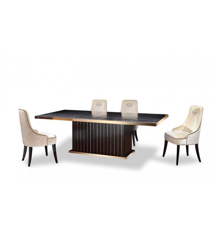 Black Crocodile & Rosegold Dining Table VIG A&X Talin Modern Contemporary