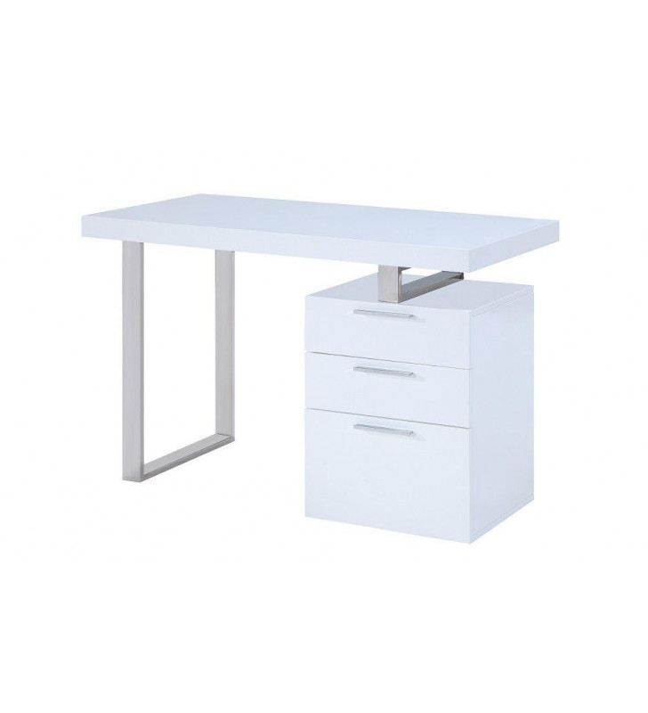 Home Office Computer Desk Glossy White Vienna J&M Contemporary Modern