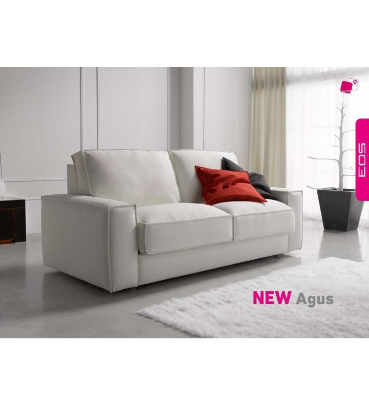 ESF Agus Contemporary White Leatherette Sofa Sleeper Bed SPECIAL ORDER