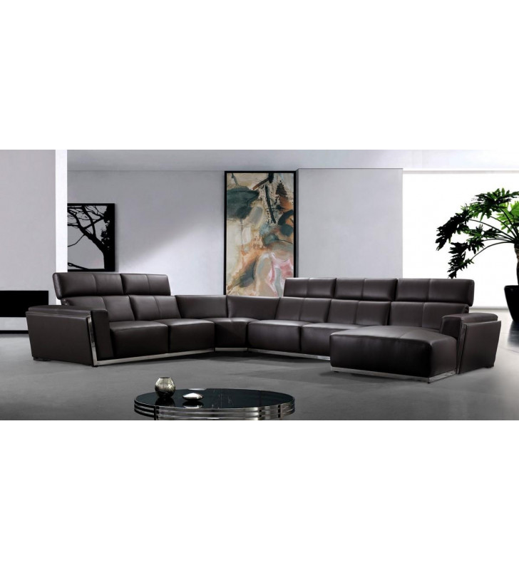 Dark Brown Genuine Leather Corner Sectional RHC VIG Divani Casa Tempo SPECIAL ORDER