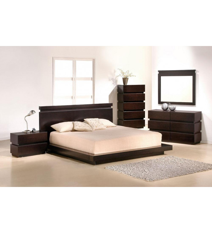 J&M Knotch Modern Brown Lacquer Finish Queen Size Bedroom Set 5Pcs Made in Italy