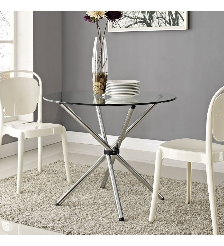 Baton Round Dining Table in Clear - Lexmod