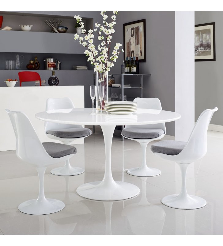 "Lippa 54"" Round Wood Top Dining Table in White - Lexmod"
