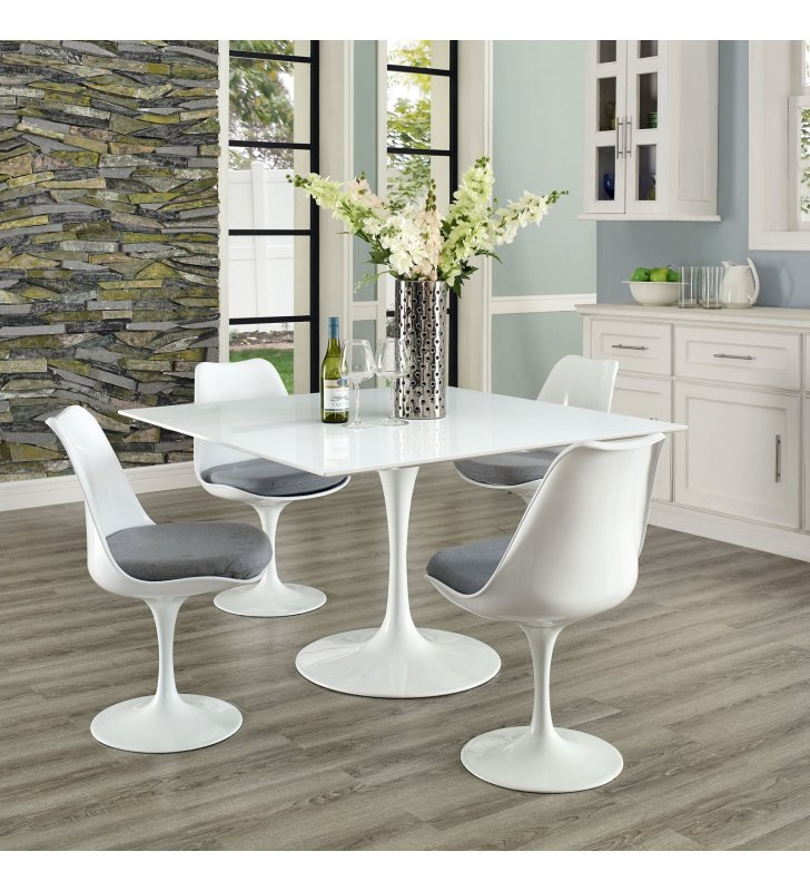 """Lippa 47"""" Square Wood Top Dining Table in White - Lexmod"""