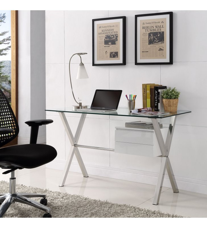 Stasis Glass Top Office Desk in White - Lexmod