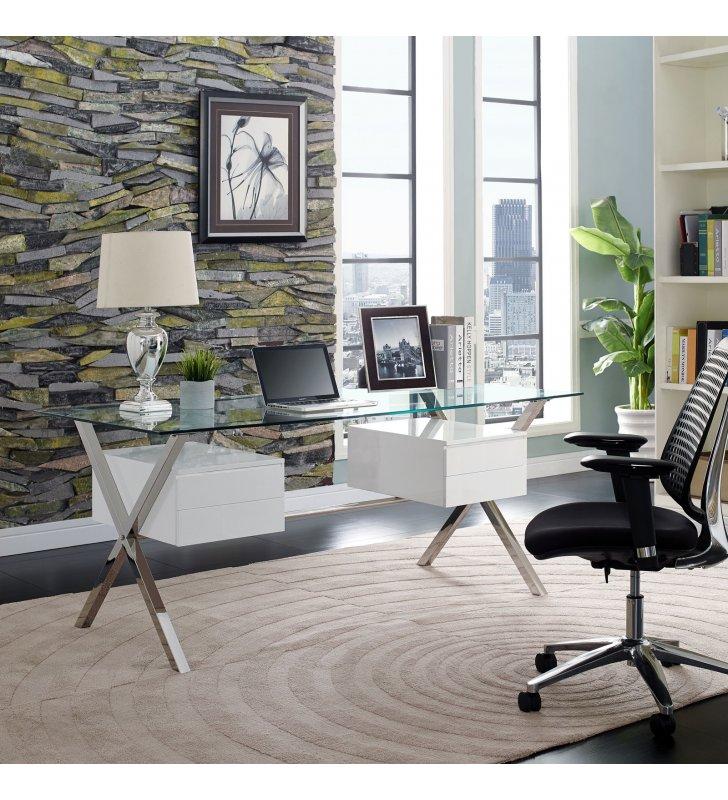Abeyance Glass Top Office Desk in White - Lexmod