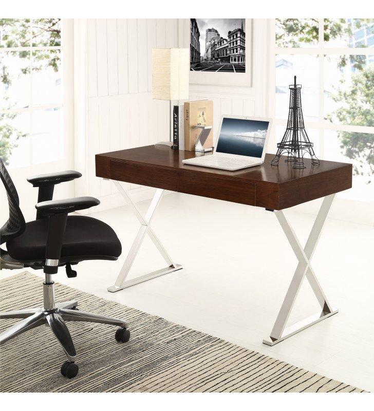 Sector Office Desk in Walnut - Lexmod