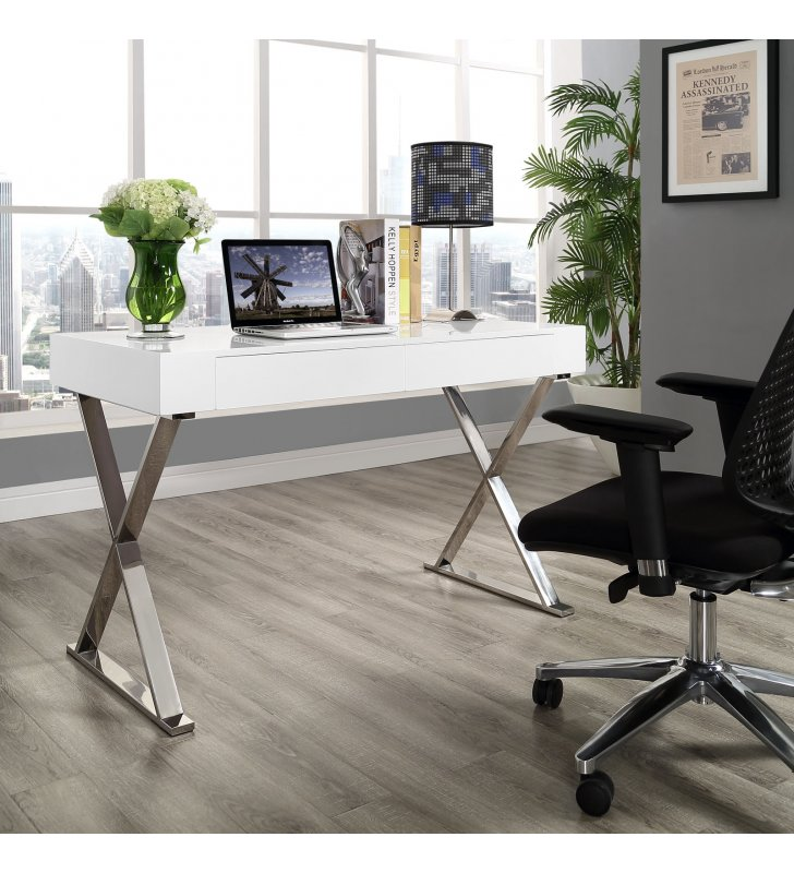 Sector Office Desk in White - Lexmod